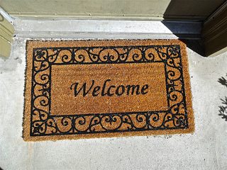 Welcome Mat in Doorway